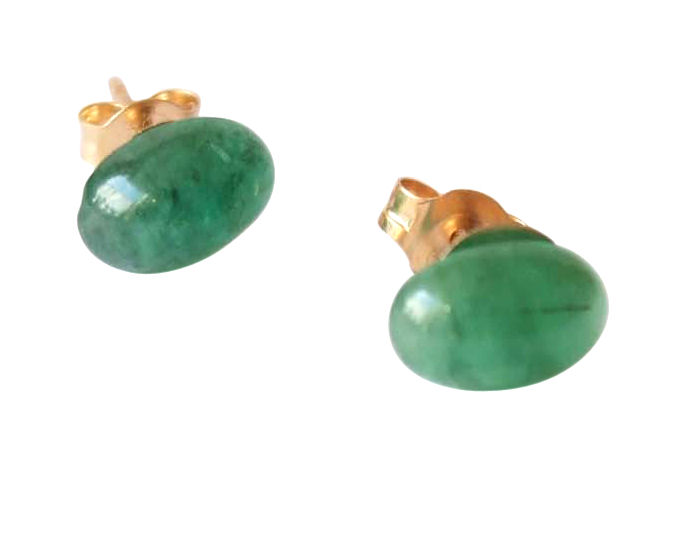 Emerald earrings in 14k gold