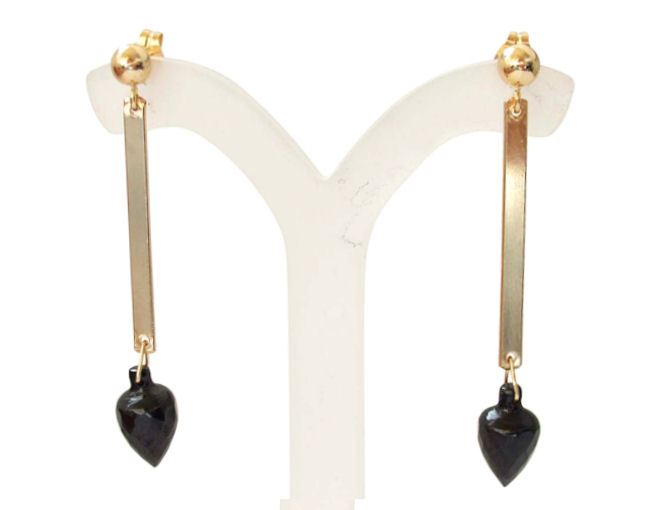 Black Garnet Teardrop earrings in 14k Gold