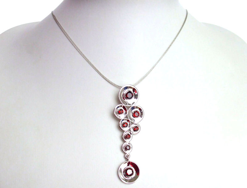 Solid sterling silver and garnet necklace - LIFE