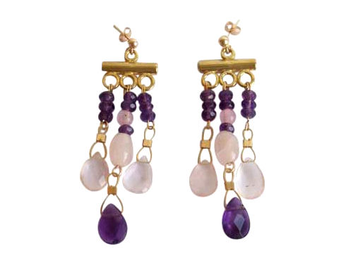 Chandelier earrings Amethyst in 14k gold
