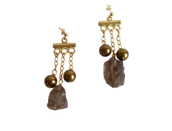 Chandelier earrings Smoky quartz in 14k gold