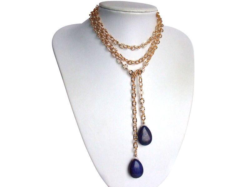 Lange goldene Lapis Lazuli Halskette