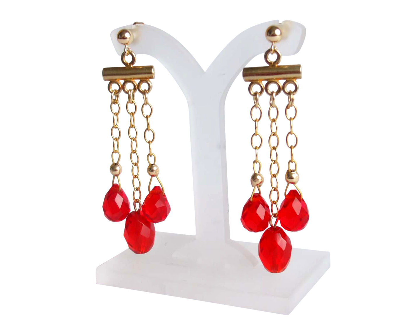 Chandelier Ruby Red Jade earrings