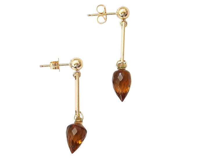 Citrine Teardrop earrings in 14k gold
