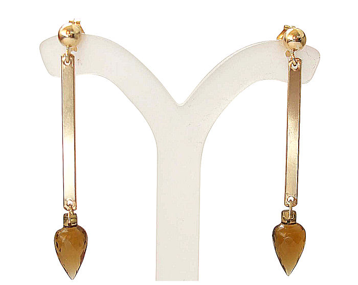Citrine Earrings Drops in 14k Gold