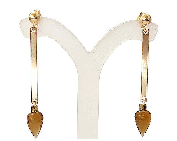 Citrine Earrings Drops in 14k Gold