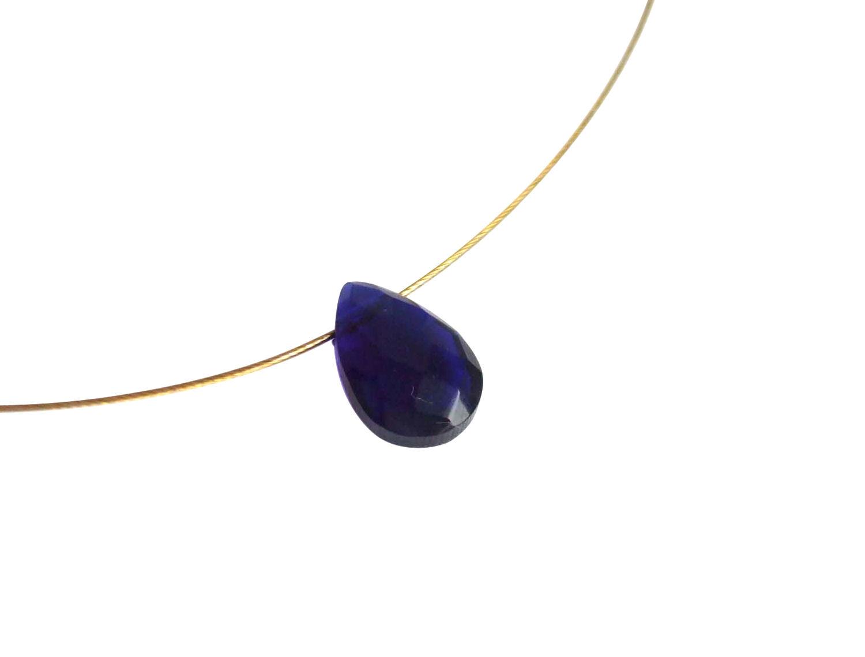 Tiefblaue Edelstein Halskette in 585 Gold