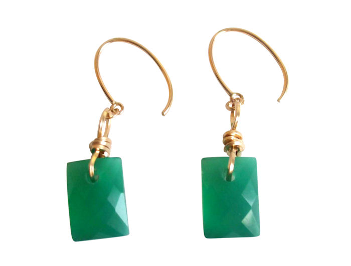 Emerald cut green onyx drop earrings