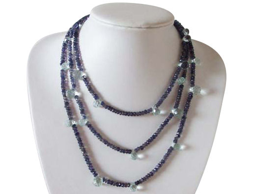 Iolite and faceted Aquamarine long Necklace
