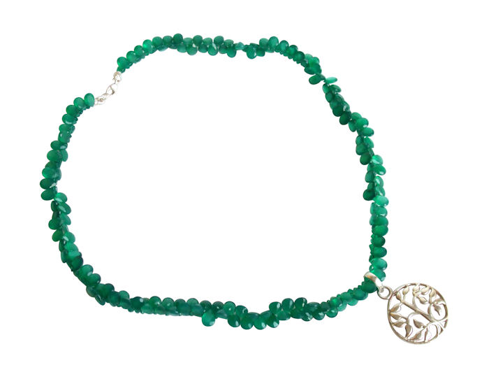 Sparkling green onyx Tree necklace