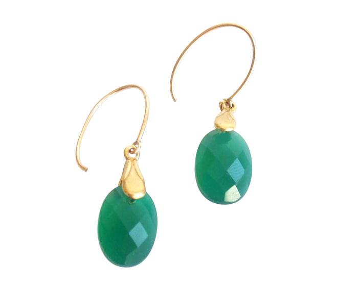 Grüne Onyx Ohrringe 14k Gold