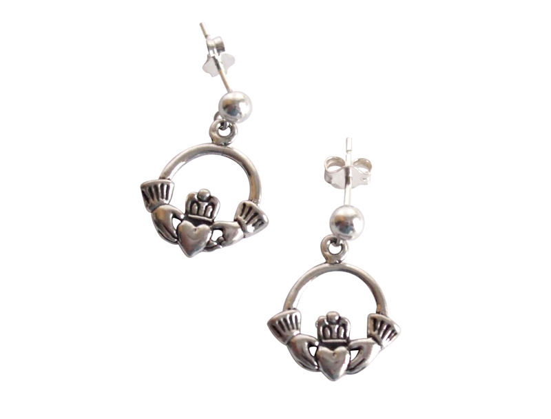 Claddagh earrings in sterling silver - HEART