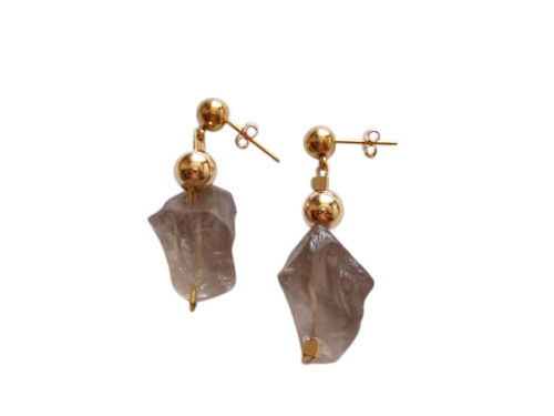 Smoky quartz and 14k gold earrings