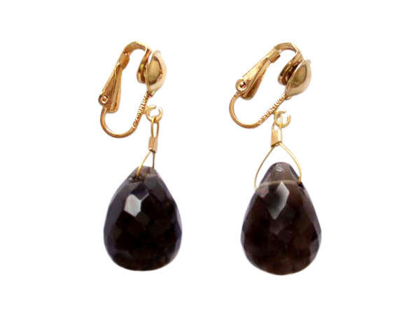 Teardrop Smoky Quartz golden clip-on earrings